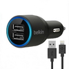 2-Ports Dual USB Car Charger Adapter with Lightning cable for iPhone5 5c 5s 6 6plus ipad2 iPad4 iPad air air2 iPad mini mini2 mini3 iPod Touch5 nano7